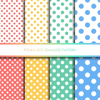 Pastel polka dot seamless pattern set