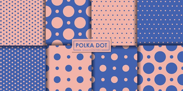 Pastel polkadot seamless pattern collection.