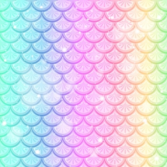 Pastel rainbow fish scales seamless pattern