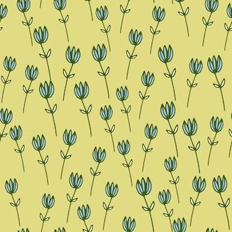 概要青い花の数字とパステルのランダムなシームレスパターン。パステルイエローの背景。