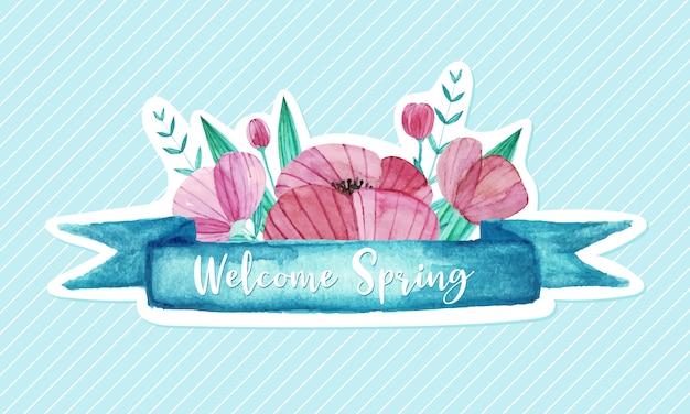 水彩風の花で飾られたパステルリボン