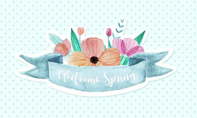 Nastro pastello decorato con fiori in stile acquerello