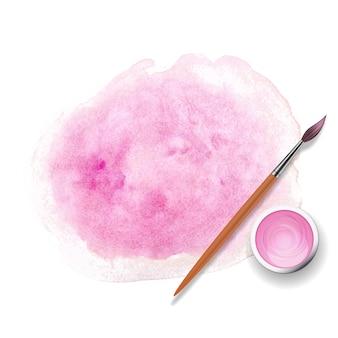 Пастельные розовые и розовые мазки кистью, банки с гуашью, акриловые краски с реалистичной деревянной кистью 3d.