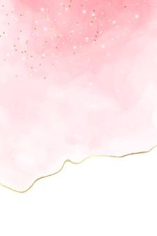 황금 균열과 파스텔 로즈 핑크 액체 수채화 배경