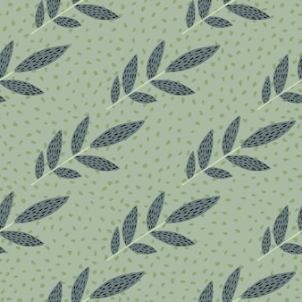 Pastel scandinavian print pattern with dashed branches. light green background with dots.