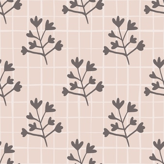 Pastel seamless floral pattern. botanic silhouettes in dark grey tones. light pink background with check.
