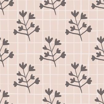 Пастельный бесшовный цветочный узор. ботанические силуэты в темно-серых тонах. светло-розовый фон с проверкой.