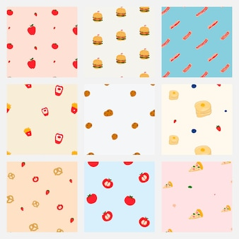 Pastel seamless food pattern background