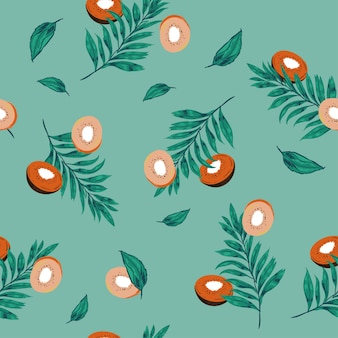 Пастель бесшовные модели киви фрукты ломтики с пальмовыми листьями