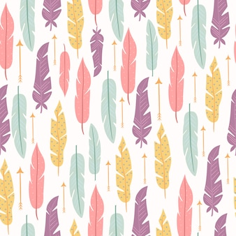 Pastel seamless pattern with feathers
