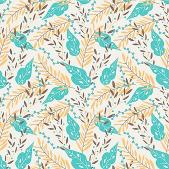 Pastel seamless pattern with floral theme