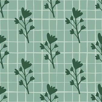 진한 녹색 색조에 꽃 실루엣 파스텔 완벽 한 패턴입니다. 체크와 함께 파란색 배경입니다. 종이, 섬유, 직물 인쇄 및 벽지 포장에 좋습니다. 삽화.