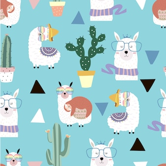 Pastel seamless pattern with llama