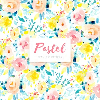 Pastel seamless pattern with roses in watercolor style