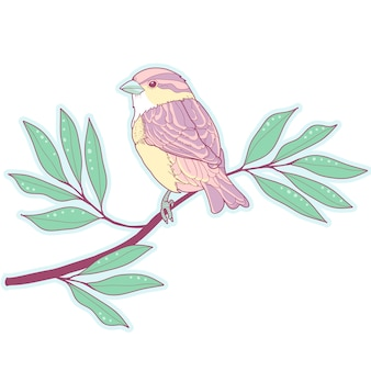 Pastel sparrow on a branch