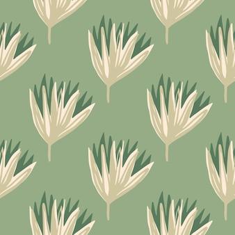튤립 꽃 봉 오리와 파스텔 양식 된 꽃 완벽 한 패턴입니다. 부드러운 녹색 배경에 베이지 색 톤의 꽃.