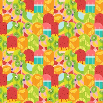 파스텔 여름 과일 아이스 패턴 원활한