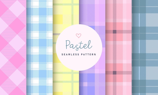 Pastel tartan check plaid seamless pattern collection