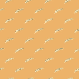 파스텔 톤 작은 깃털 요소 원활한 낙서 패턴입니다. 오렌지 배경입니다. 장식 추상적인 배경입니다. 직물 디자인, 직물 인쇄, 포장, 덮개에 적합합니다. 벡터 일러스트 레이 션.