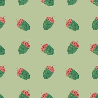 パステルトーンのシームレスな植物パターンに、緑と赤のドングリが使われています。