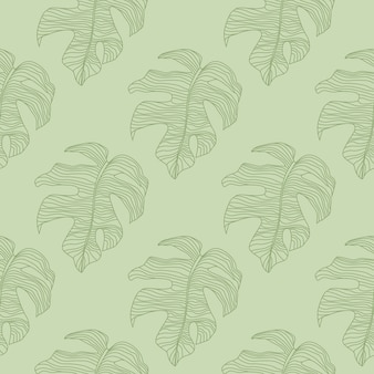 Pastel tones seamless nature pattern with doodle monstera green contoured shapes.