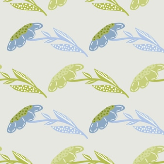 Pastel tones seamless pattern with green and blue decorative abstract flowers shapes