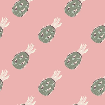 Pastel tones seamless pattern with grey abstract dragon fruit silhouettes on light pink background. designed for fabric design, textile print, wrapping, cover. vector illustration.