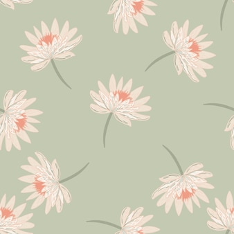 Бесшовный узор пастельных тонов со случайным цветочным принтом хризантемы.