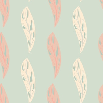 Pastel tones seamless pattern with simple pink abstract leaves shapes