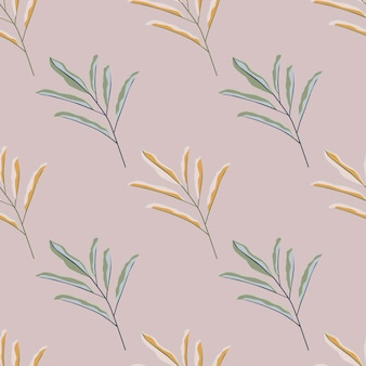 Pastel tones simple leaves branches seamless pattern