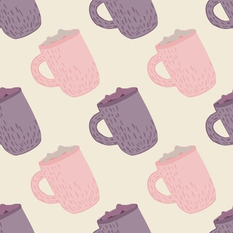 Pastel tones winter seamless pattern with holiday drink print. purple and pink hot chocolate cups artwork. great for fabric design, textile print, wrapping, cover. vector illustration