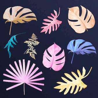 Pastel tropical leaf vector set
