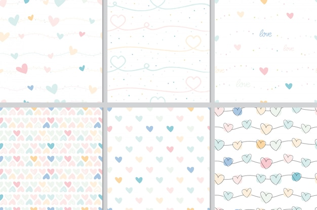 Pastel valentine doodle heart seamless pattern collection