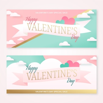 Pastel valentine's day banners