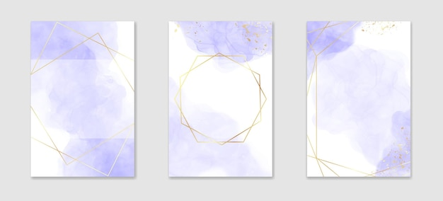 Pastel violet liquid watercolor background with golden lines and frame