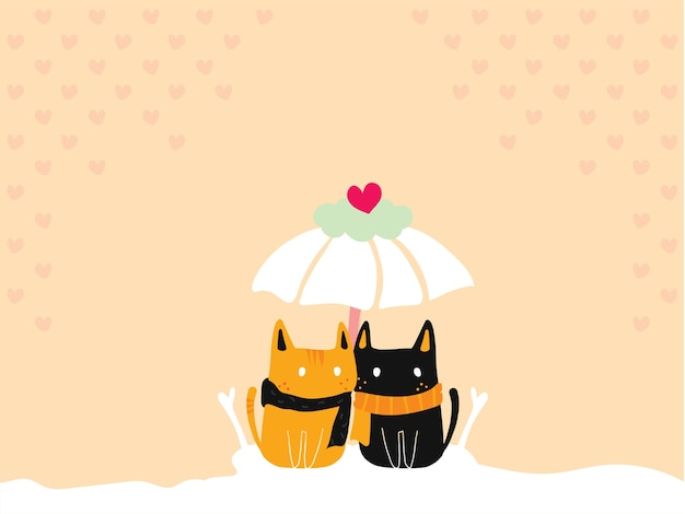 Pastel wallpaper of cute cat couple sitting together under the love umbrella.