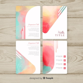 Pastel watercolor brochure template collection
