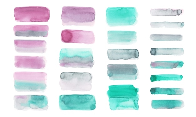 Pastel watercolor brush set isolated