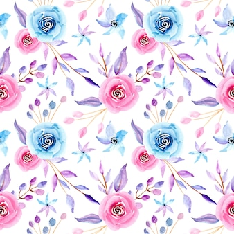 Pastel watercolor floral seamless pattern