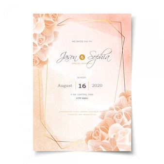 Pastel watercolor rose and gold frame wedding invitation