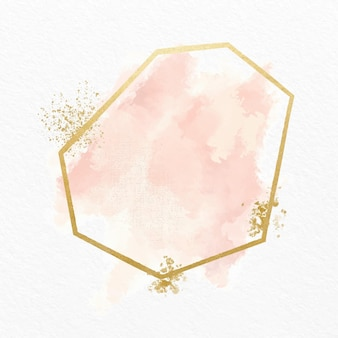Pastel watercolor with golden frame Free Vector