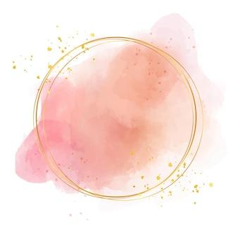 金色のフレームとパステル水彩