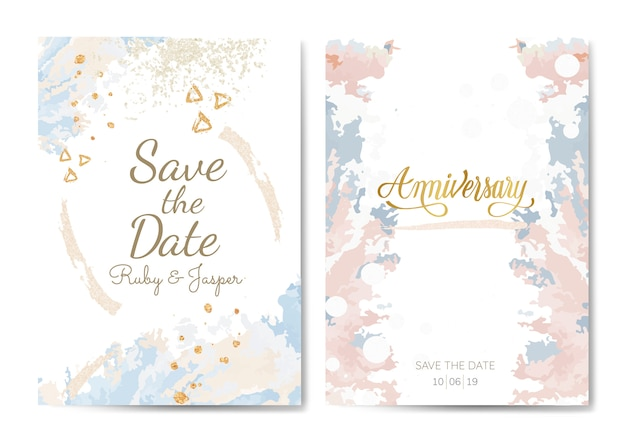 Pastel wedding and anniversary cards vector