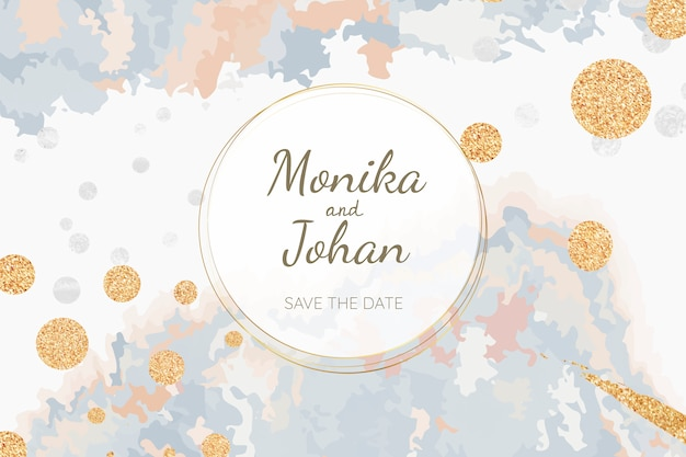 Pastel wedding invitation card vector