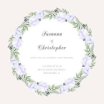 Pastel wedding invitation with a wreath
