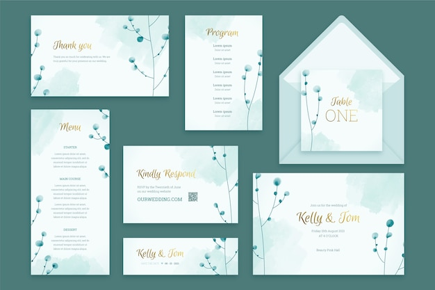 Pastel wedding stationery template