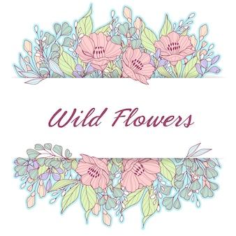 Pastel wild flowers delicate frame
