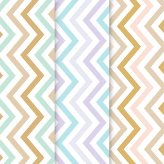 Pastel zigzag seamless pattern set