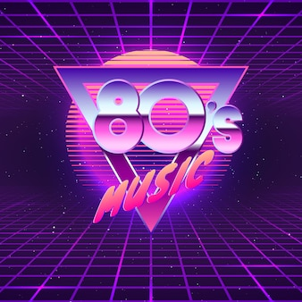 Paster template for retro party 80s. neon colors. vintage electronic music flyer. illustration