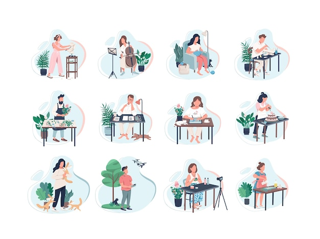 Pastime activity flat color faceless characters set. class on musical instrument. photography with drone. video making. learning new skill isolated cartoon illustrations on white background